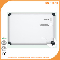 Dry erase magnetic whiteboard with marker tray and eraser