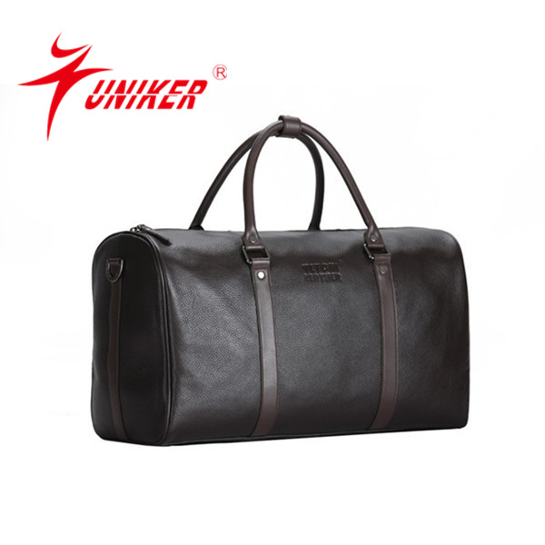 men design black genuine cow leather stylish travel bag wholesale