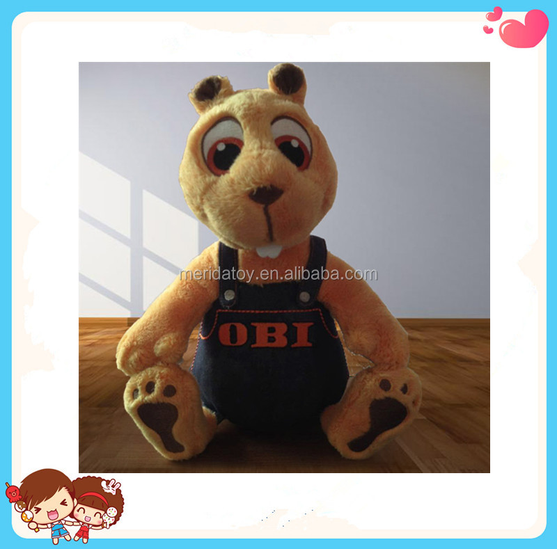 Custom New Design Cute Funny Animal Shaped Stuffed Plush Squirrel Mascot Toy Wearing Clothes