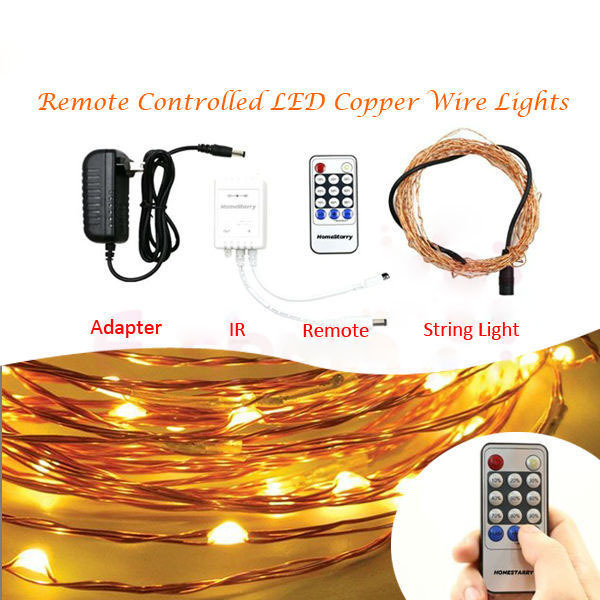 RF Remote Control Invisible Fairy Moon Copper Silver Wire Fairy LED Christmas String Lights