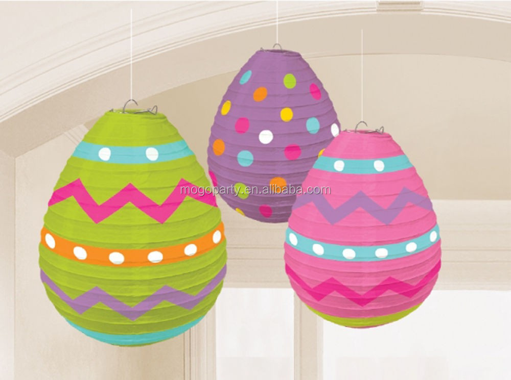 3 x Easter Eggs Paper Hanging Decorations Lanterns Easter Party Decorations
