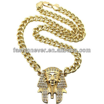 "Iced Out Pharaoh Pendant 10mm&24"" Cuban Link Chain Hip Hop Necklace"