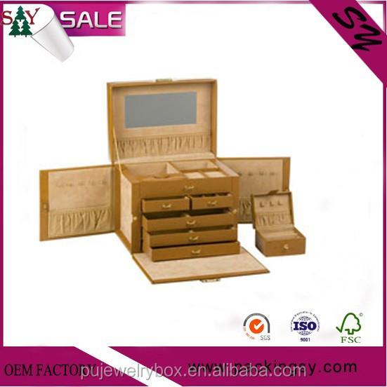 High grade factory manufacturer brown leather with drawer jewelry and watch box