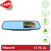 L854 hd car camera 4.3inch LED rear view mirror bluetooth reverse camera and parking G-sensor system hd dvr