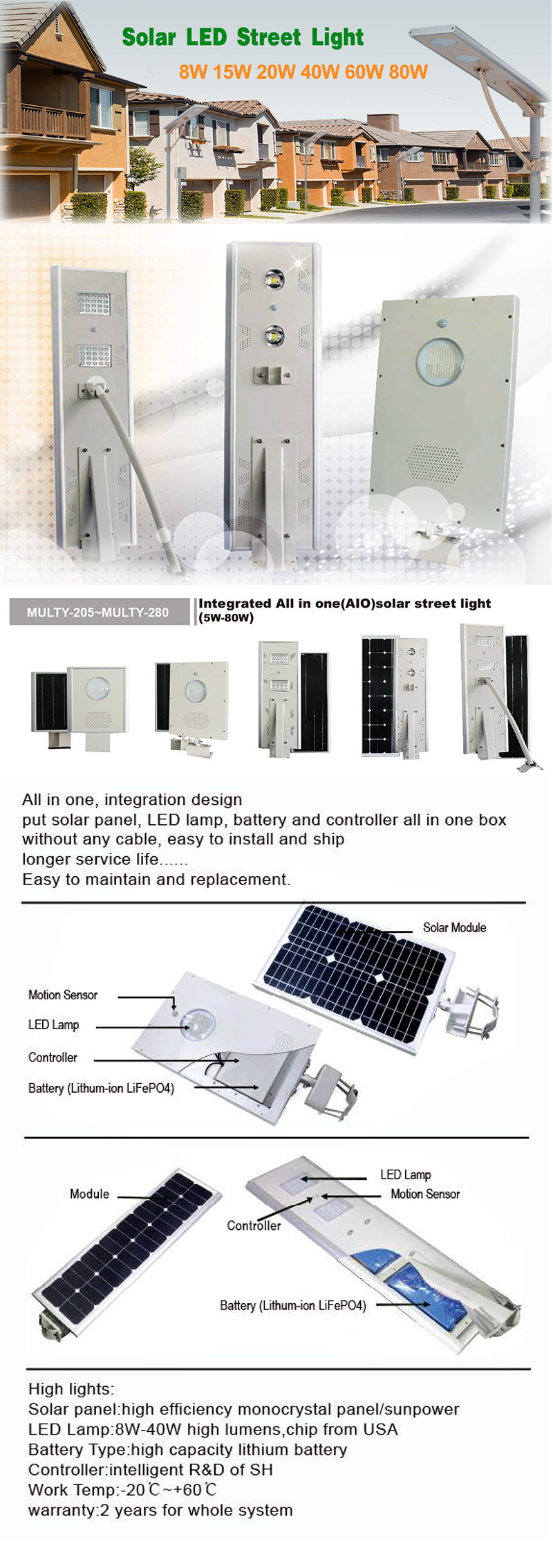 80w Integrated LED Solar Street Light of solar electric power