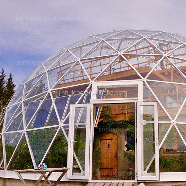 building glass house outdoor geodesic dome for watching aurora