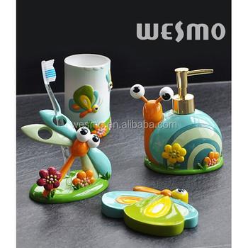 Children style polyresin bathroom accessories buy for Bathroom accessories hs code