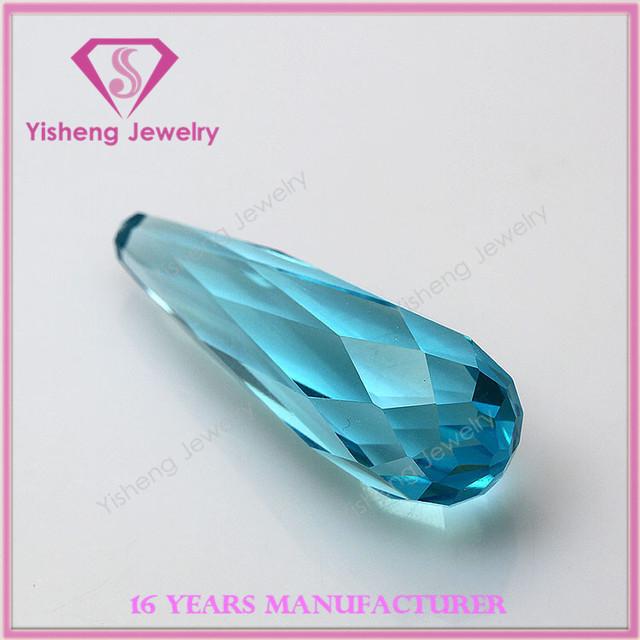 AAA Colorful Drop Bead 3D Cut Face Sapphire Glass Loose Aquamarine Gemstones