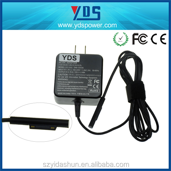 top quality 12V 2.58A Portable Home Travel Wall Charger for Microsoft Surface Pro 3 with 5 pin adapter connector