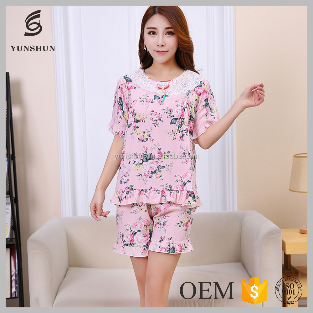 Korean fashion women printing pajamas set cotton nighty for women