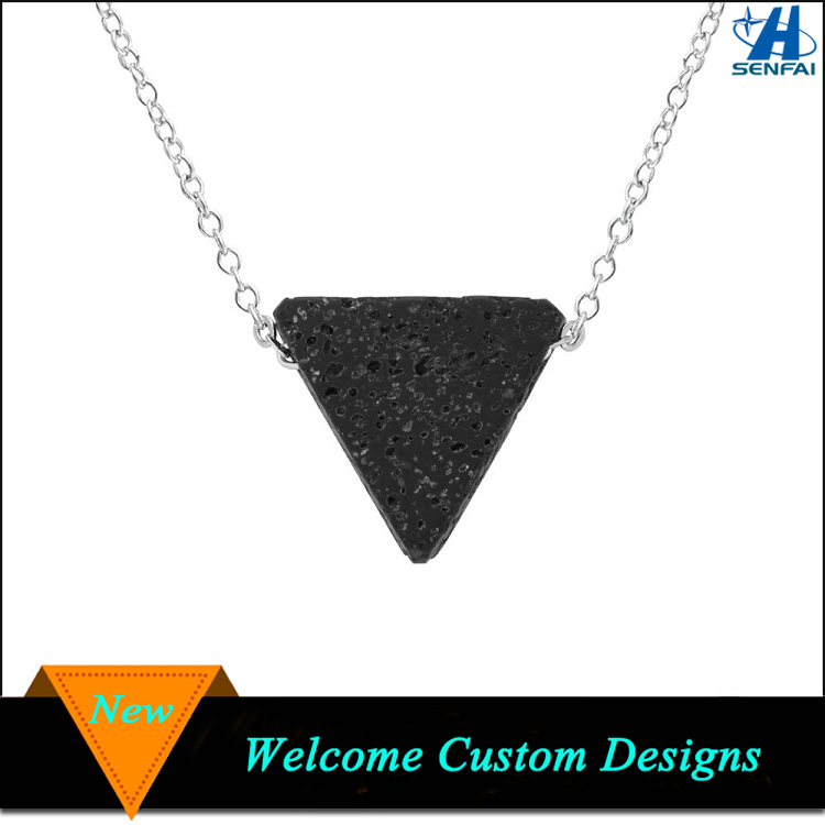China Wholesale Sexy Triangle Lava Natural Stone Necklace Jewelry For Essential Oil