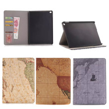 Hot selling World map pattern wallet PU leather cover case for iPad air2 , for ipad air 2 cover case , PU leather tablet cover