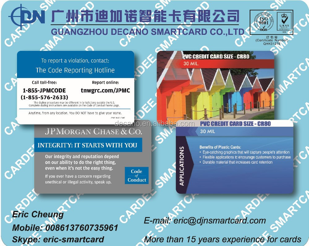 Preprinted PVC card for supermarket