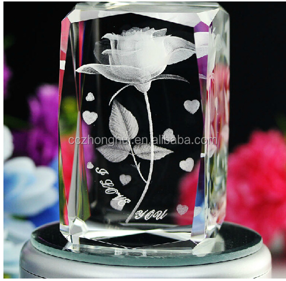 Beautiful flower 3d laser etched crystal
