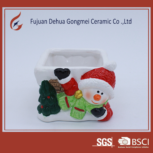 Factory direct sale small ceramic christmas pot flower