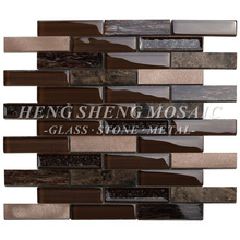 Brown Glossy Glass Mixed Ice Crackle Ceramic and Silver Metal Blend Brick Mosaic Tile