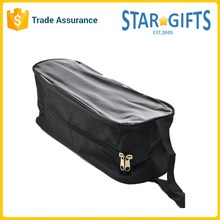 Black Portable Hanging Reusable Polyester Sports Shoe Bag With Front Clear PVC