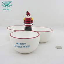 Wholesale custom logo round Big 3 divided ceramic soup salad bowl christmas bowl