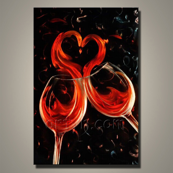 China Manufacture Metal Coffee Cup Wall Art Of wine glass