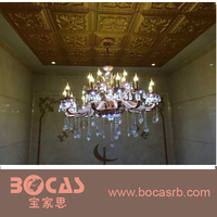 Hot Sell fireproof Carved PU cover PVC Ceiling Tile