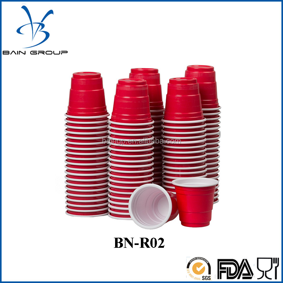 120ct Mini Red Cups 2oz Plastic Disposable Shot Glassed Party Shooter Bear Pong Jello