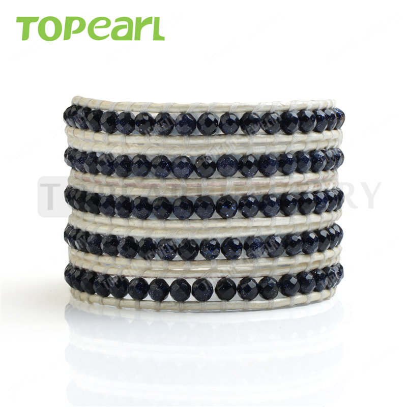 Topearl Jewelry Blue Goldstone Beads 5 Wrap Bracelet Handmade on Cowhide Leather CLL138