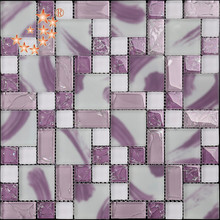 HMS10 Good-looking Hand Painting Patterns Pink Glass Mosaic