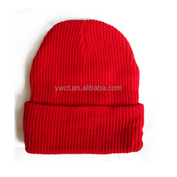 Oversized Custom Knit Winter Red Ski Caps Foldable Embroidery Hat