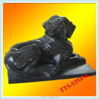 Hand carving black marble dog for home