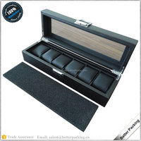 6 Slot Custom Wholesale Black Wooden PU Leather Packaging Watch Box