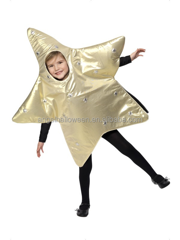 Hot sale star shape costume yellow halloween fancy dress costume for kids FC2241
