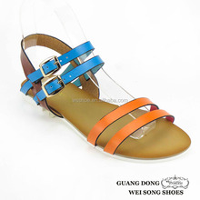 PVC insole ankle double buckles parallel strap open toe casual stylish 2015 flat sandals