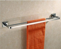 New Bathroom Hardware Accessories Solid Brass Chrome Polished Double Towel Bar