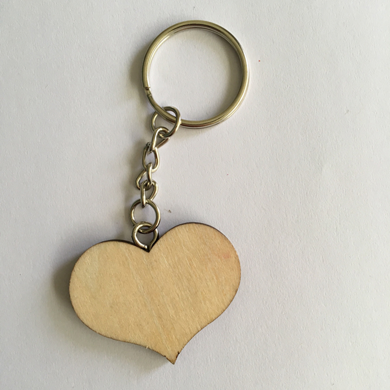 wooden hearts keychain wedding decoration