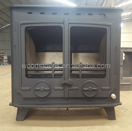 contemporary wood burning double door stove wood burner room heater with refractory