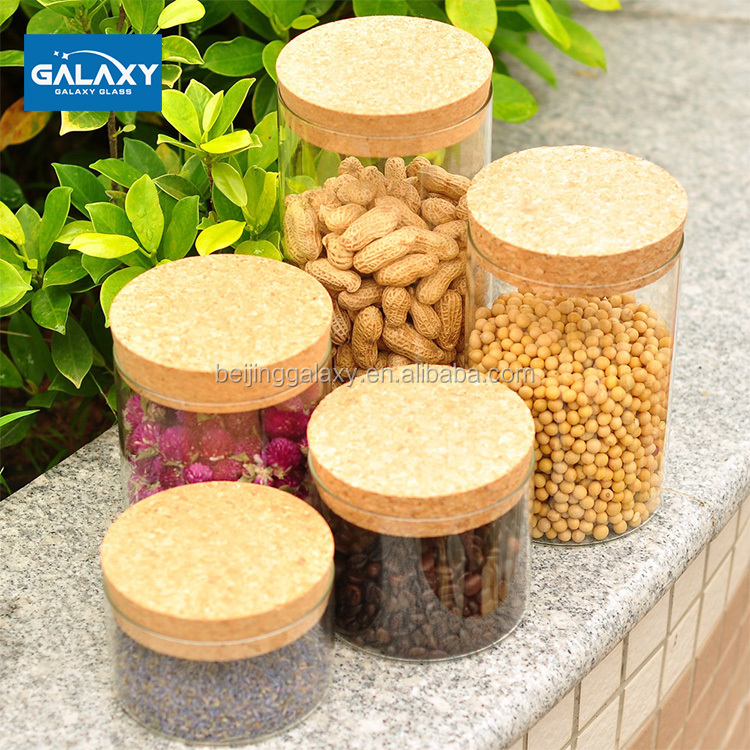 factory direct heat resistant fresh keeping airtight pyrex glass jar borosilicate glass storage jar with bamboo or wooden lid