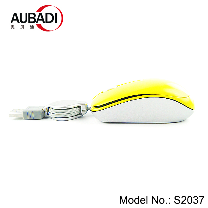 optical portable mini travel mouse with retractable cable