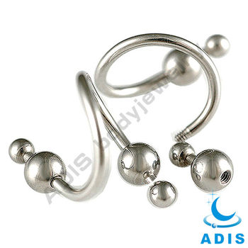 surgical steel ear jewelry spiral piercing with bottle gourd balls