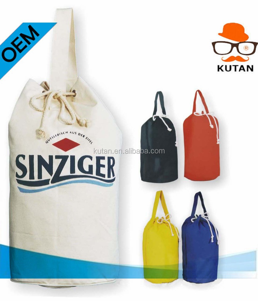Eco-Friendly Round Bottom Cotton Canvas Drawstring Buggy Bag Wholesale