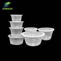 clear round take away box microwave safe disposable plastic food container with lid