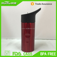 promotional 500ML single wall stainless steel water bottle with plastic sipper straw cap RH402-500