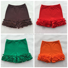 Wholesale children's boutique clothing short icing ruffle pants for summer