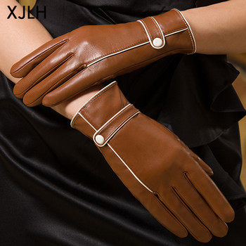 New style contrast color piping camel color wholesale ladies classic leather glove