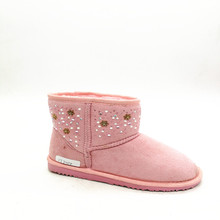 New design fashion exquisite block winter warm kids fur snow boots for baby