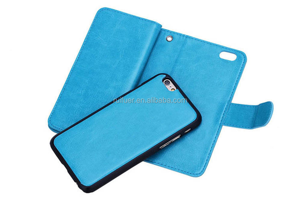 Manufacturer Wholesale Business Detachable Flip Wallet Leather Cell Phone Case Card Holder For Apple Iphone 6 6S Plus