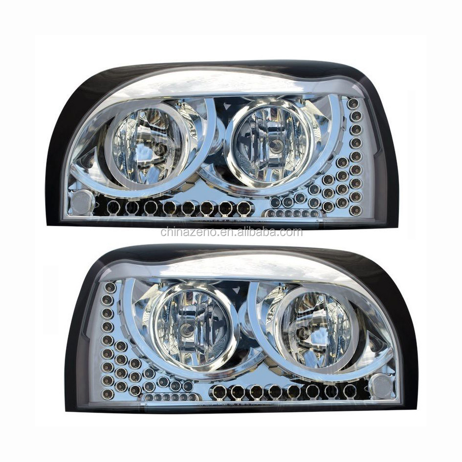 Freightliner Century Headlight CHROME w/Amber LED DayLight &Turn Signal LED