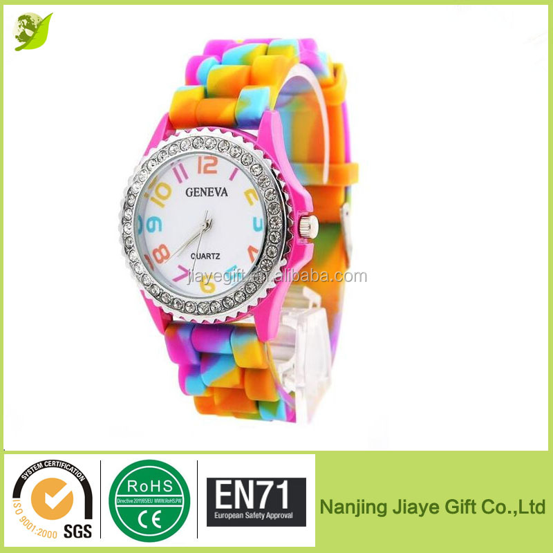 Silicone Jelly Link Band Geneva New Rainbow Crystal Rhinestone Diamond Quartz Watch
