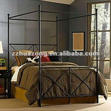 Classic Modern black metal queen size canopy bed