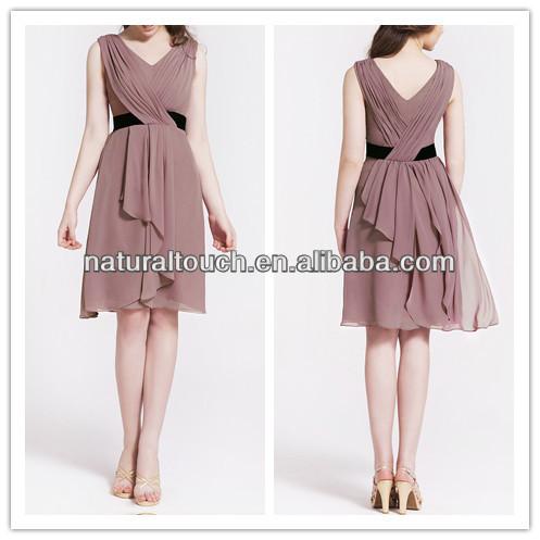 Hot sale ruffled design Ladies Rose Cascade Draped Chiffon v neck Bridesmaid Dress