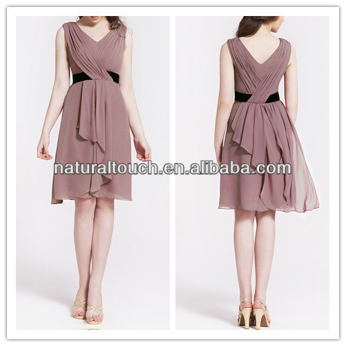 Hot sale ruffled design Ladies Rose Cascade Draped Chiffon v neck Bridesmaid Dress